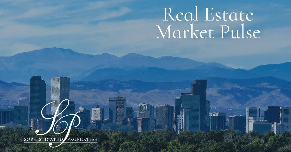 """An image of the Denver skyline on a 'bluebird sky' day with """"Real Estate Market Pulse"""" and the Sophisticated Properties 'SP' logo."""